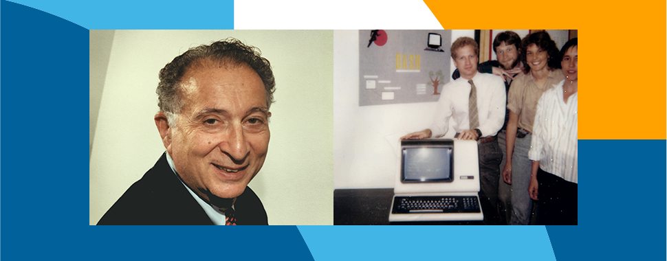 Pictures of Marvin Zelen, department founder, and a group of department members pose in the early 1980s with one of the earliest high-tech computers.